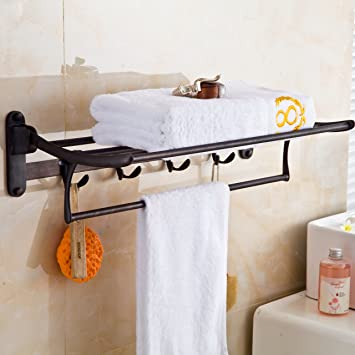 Perfect Rozin Bath Towel Holder Wall Mount Folding Towel Rack With Hooks Black Color