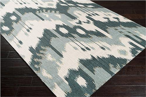 Surya JT-238 Jewel Tone Ikat Reversible Flatweave Handmade Area Rug, 2 by 3-Feet, Peacock Green