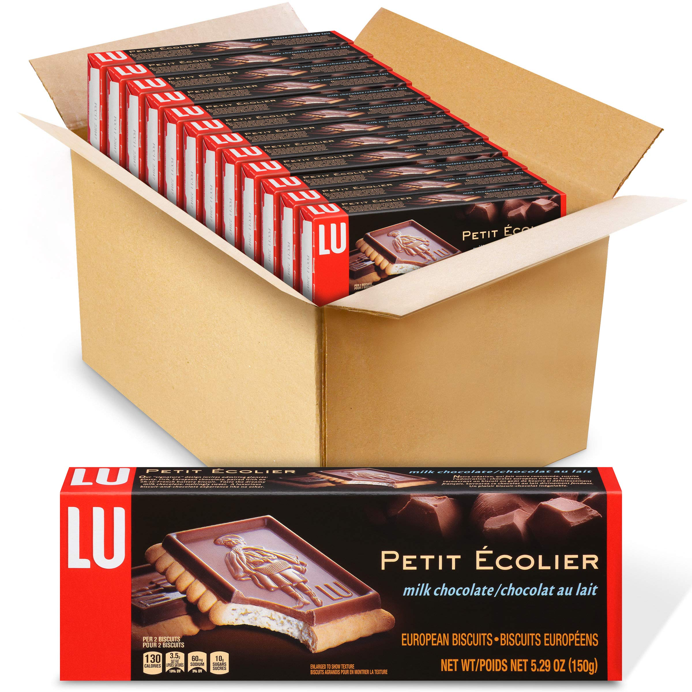 Lu Petit Ecolier European Milk Chocolate Biscuit Cookies, 12 - 5.3 oz Boxes