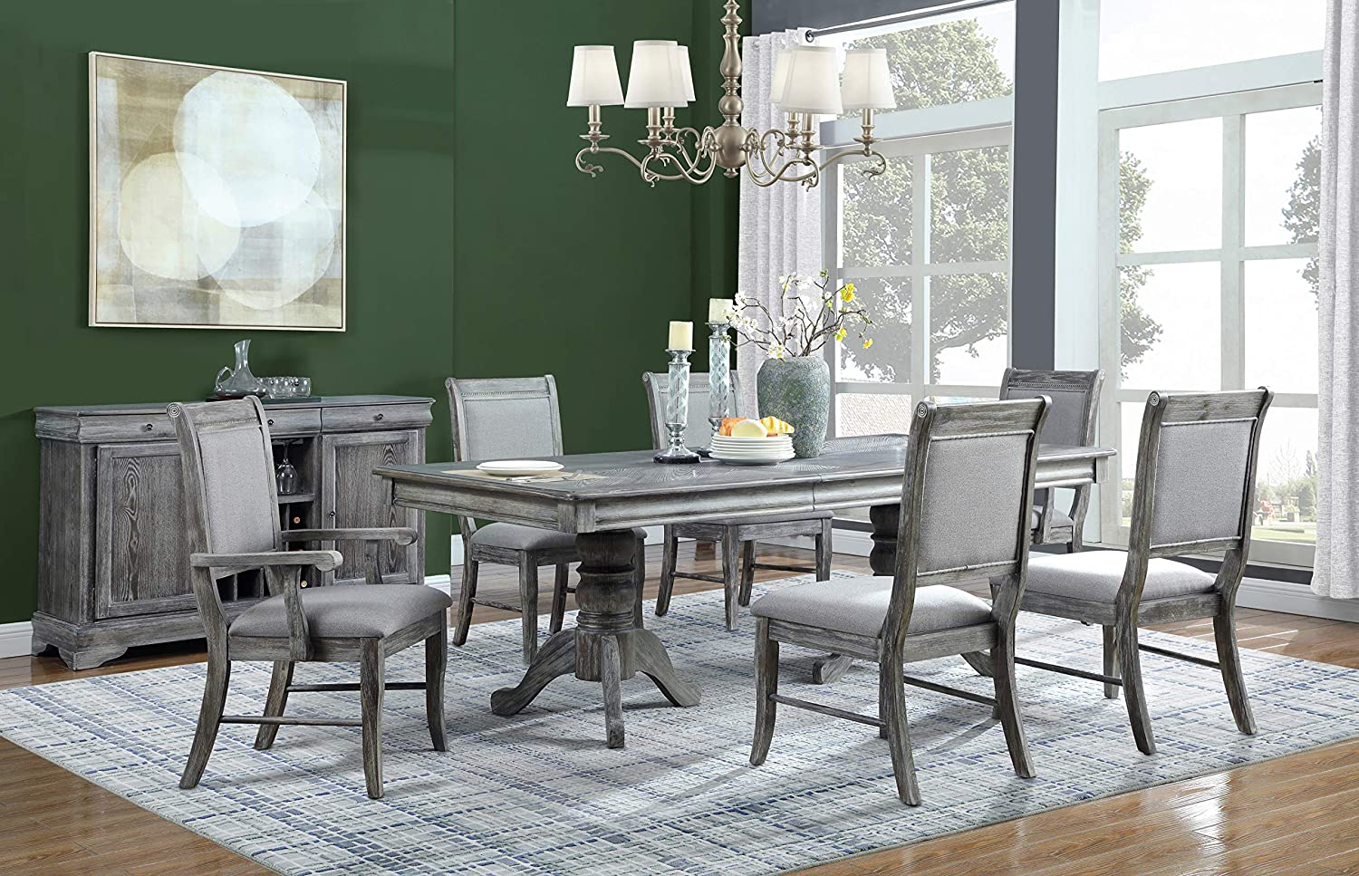 Coaster Home Furnishings Darcy 7-Piece Rectangle Weathered Ash and Grey Dining Set