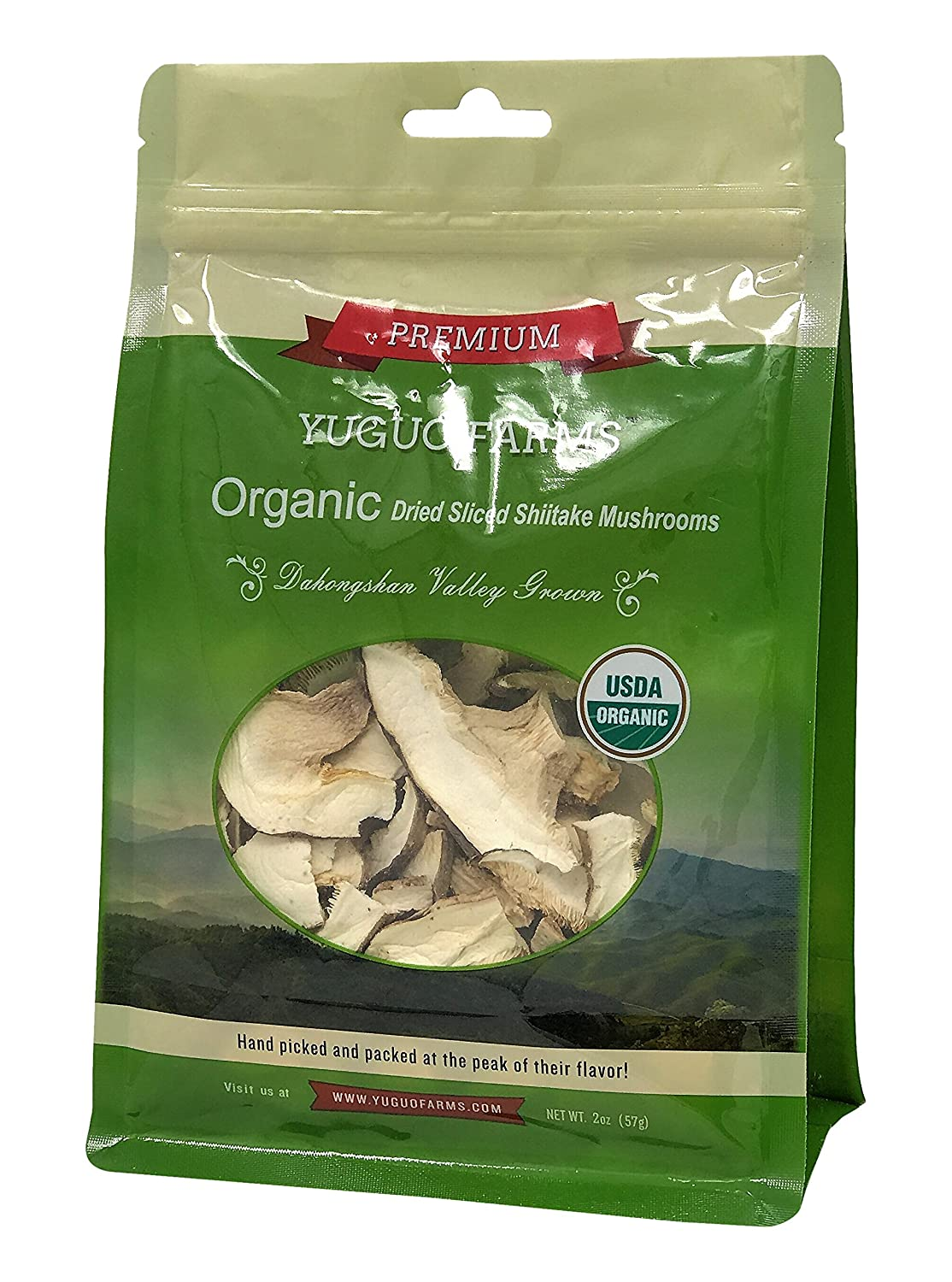 Yuguo Farms Dried Sliced Shiitake Mushrooms Certified USDA Organic, 100% Naturally Grown, NON-GMO, 2oz bag