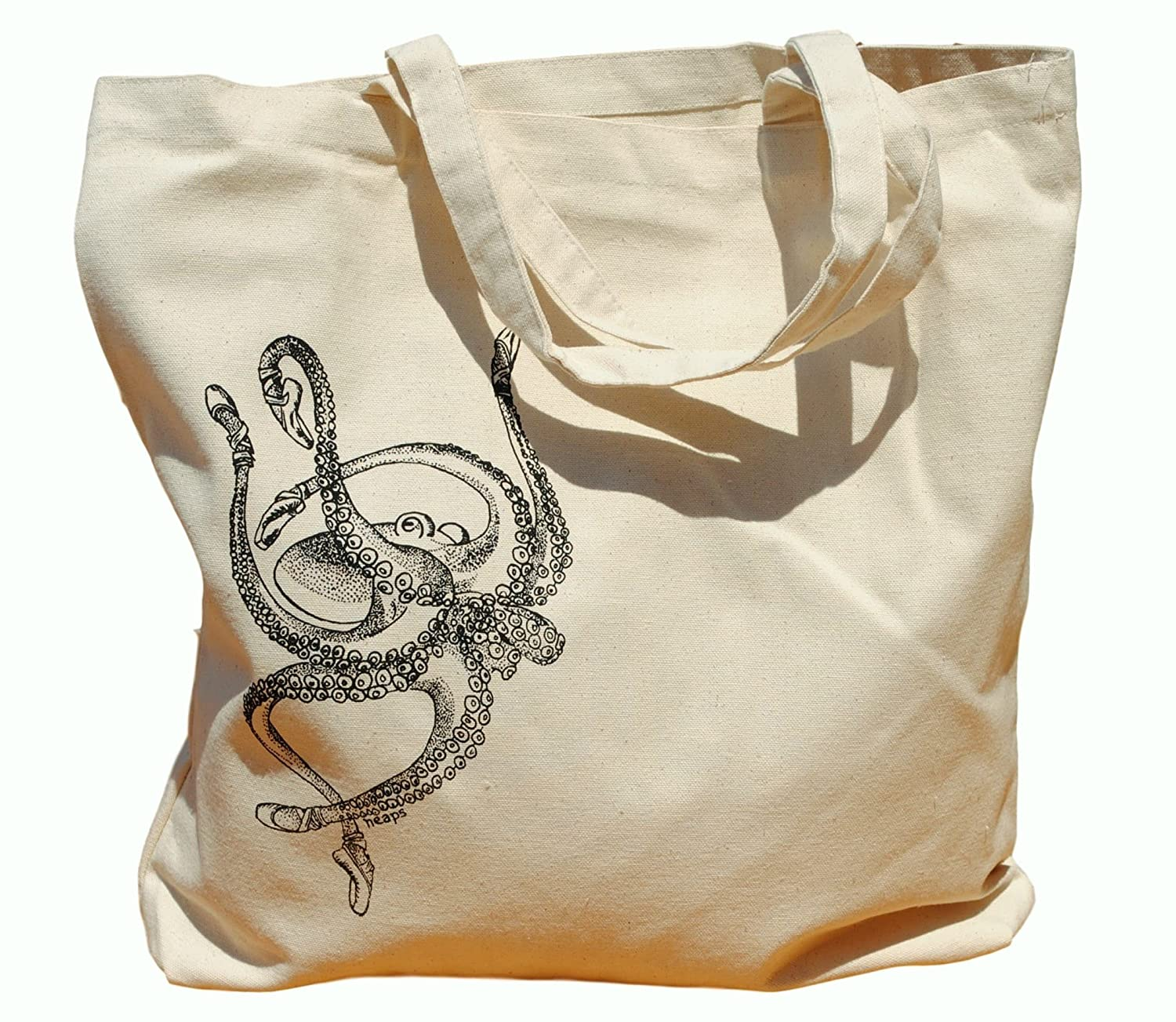 Canvas Tote Bag - Hand Printed Ballet Octopus - Market Travel Beach Shopper Grocery School