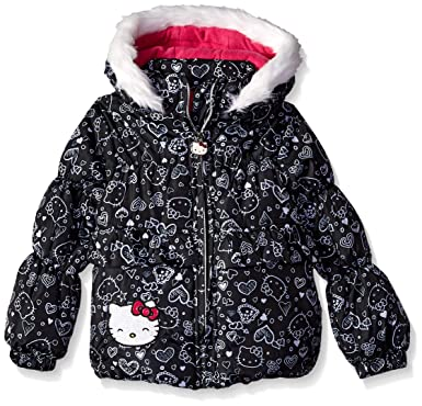 9548c82e9 Hello Kitty Girls' Little Printed Puffer Jacket with Fur Trim Hood, Black,  ...
