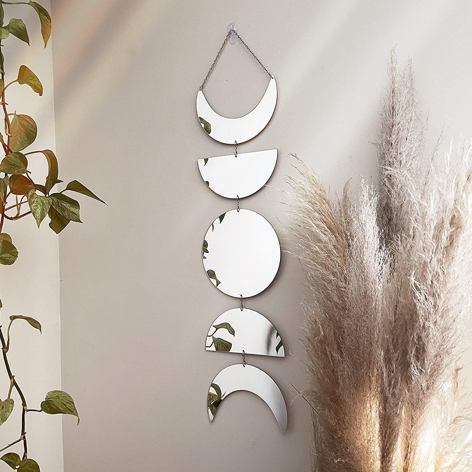 Moon Wall Decor   Decorative Moon Phase Mirror Boho Wall Hanging Mirror Bohemian Decor for Bedroom   Aesthetic Mirror Decorations for Living Room Moon Phases Art   Acrylic   Silver or Gold Wall Decor