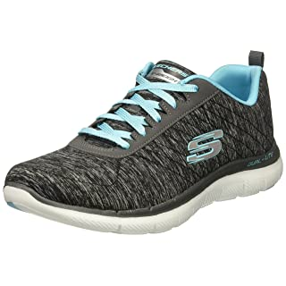Skechers Sport Women's Flex Appeal 2.0 Fashion Sneaker, black light blue, 5.5 M US