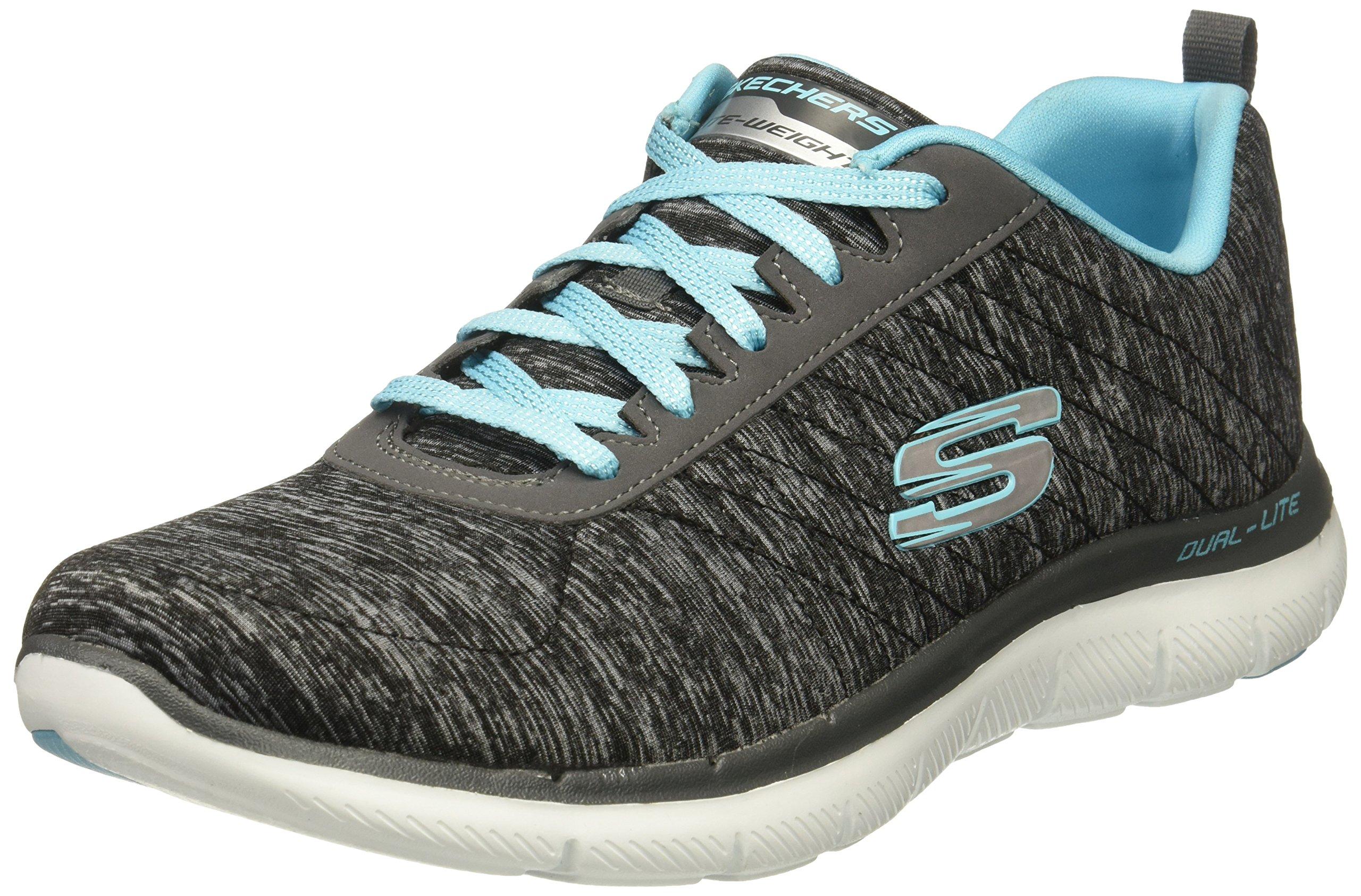 Skechers Women's Flex Appeal 2.0 Fashion Sneaker, Black Light Blue, 8 M US