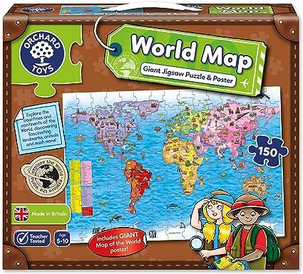 Orchard_Toys - Puzle y póster, diseño Mapa del Mundo (en inglés ...