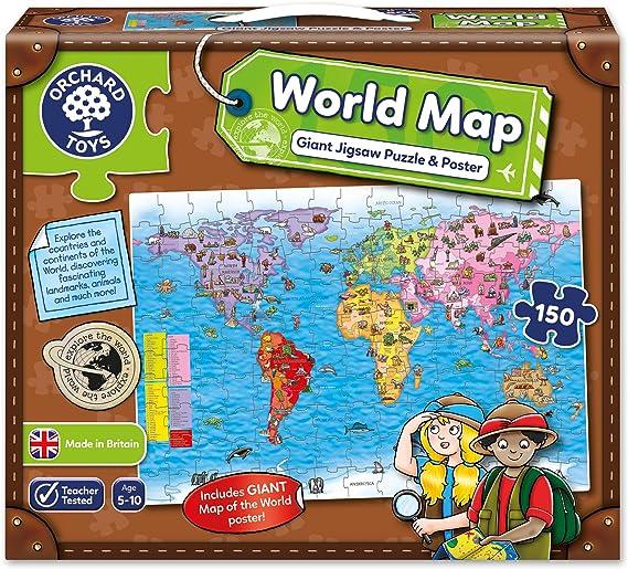 Orchard Toys - Puzle y póster, diseño Mapa del Mundo (en inglés) [Importado de Gran Bretaña]: Amazon.es: Juguetes y juegos
