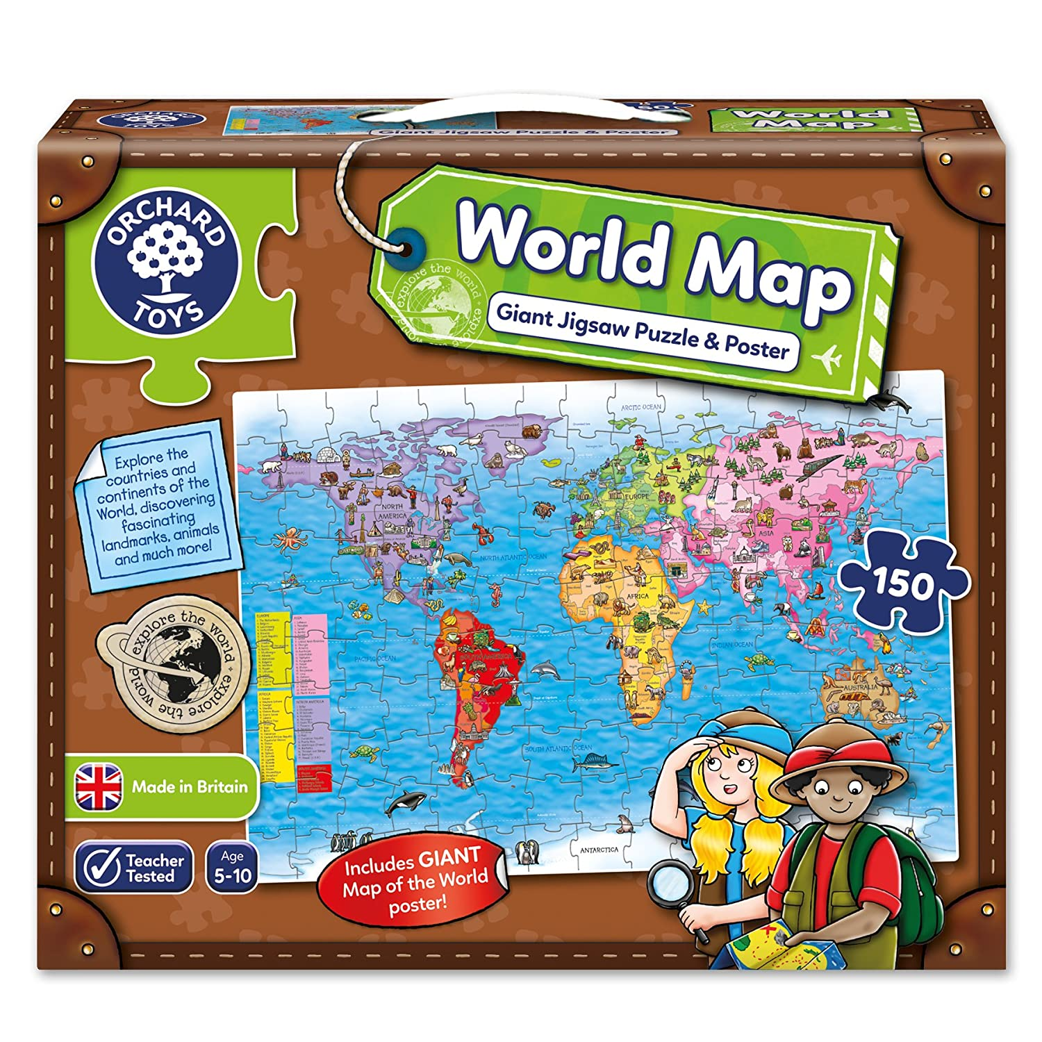 Orchard Toys World Map Jigsaw Puzzle And Poster Amazoncouk - Us map puzzle for toddlers