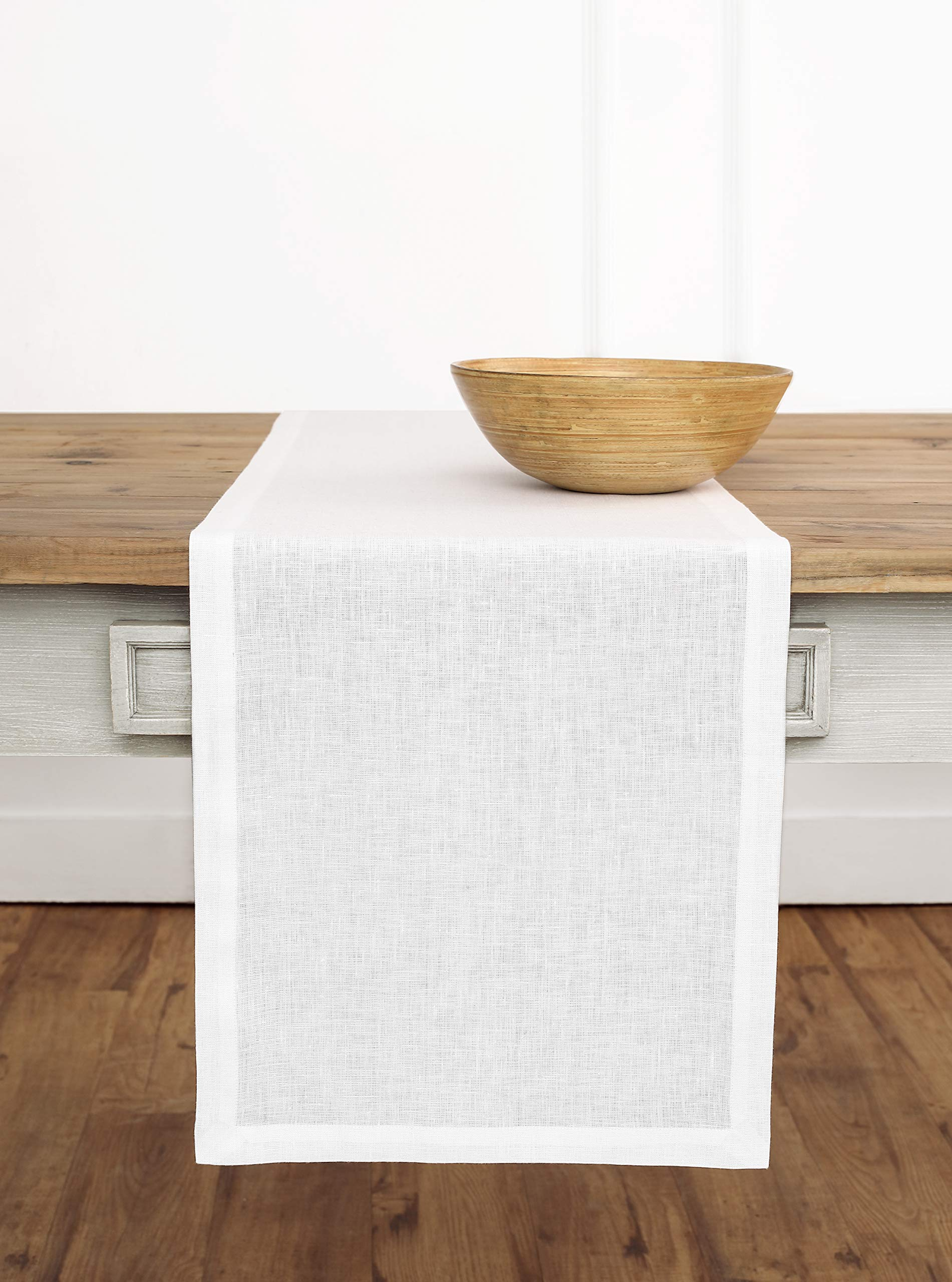 Solino Home Linen Table Runner - 14 x 72 inch, Crafted from 100% Pure European Flax - White, Athena