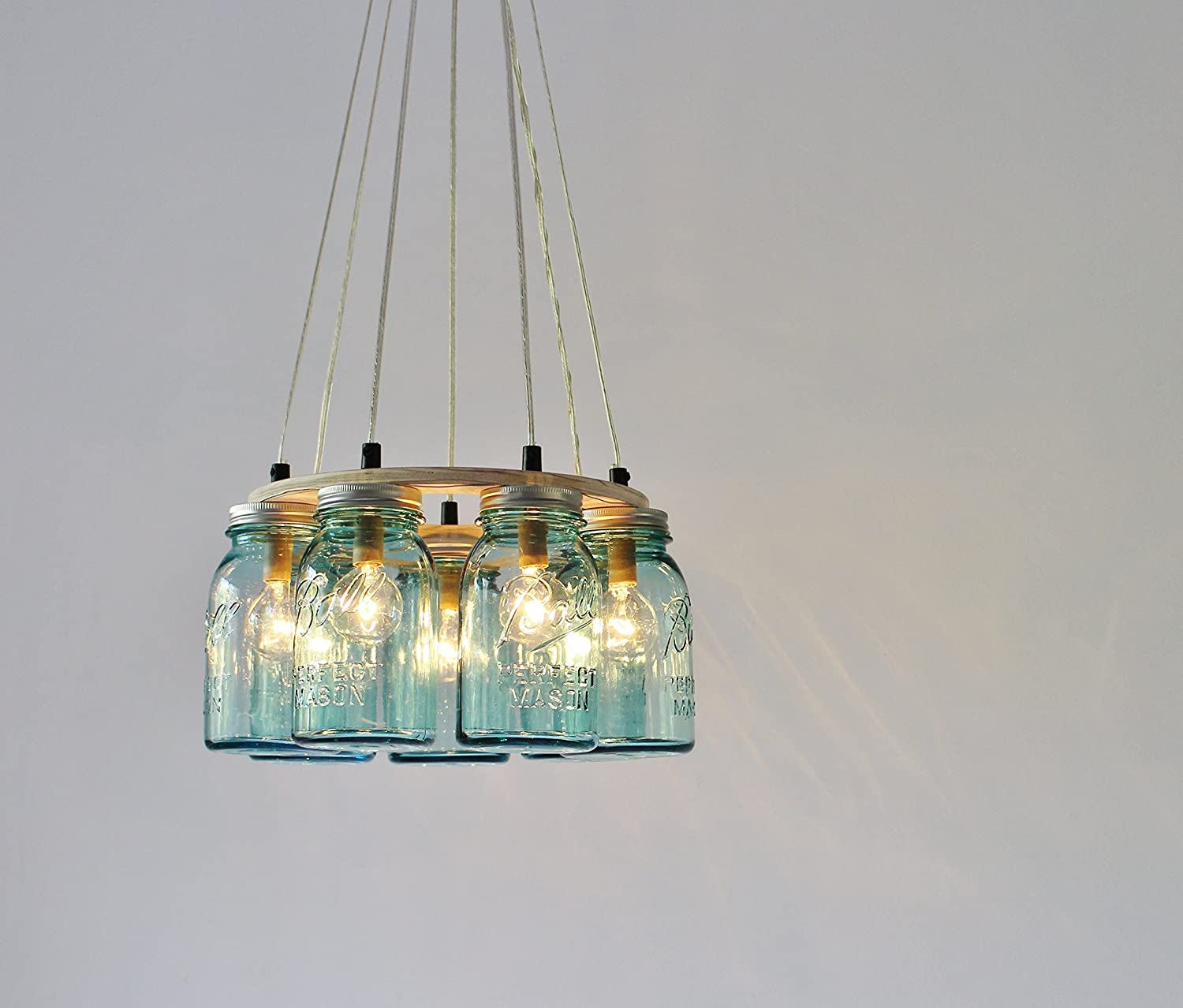 Amazon com ring mason jar chandelier lighting fixture 7 antique blue quart jars bulbs included handmade