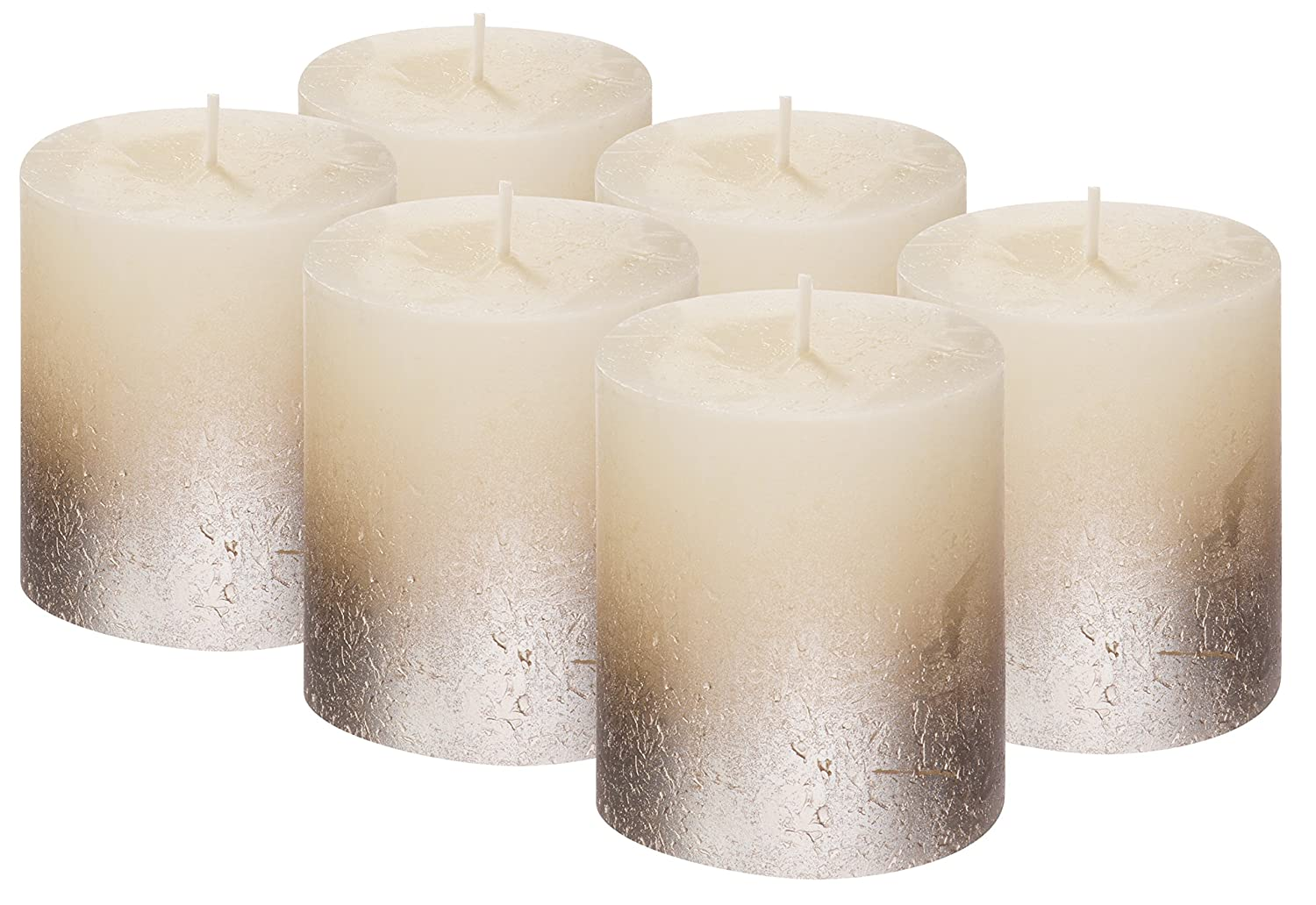 Rustic Metallic Unscented Pillar Candle