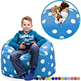 """Stuffed Animal Storage Bean Bag Chair in Ocean Blue with White Polka Dots. FILL IT, ZIP IT AND SIT IN IT! Clean Up the Room in Style AND Get Yourself a Premium 95"""" Bean Bag Chair For Free!"""