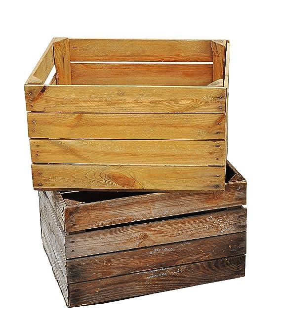 Massive fruta (- 3 Set Vintage Madera Caja - Antigua caja - cajón-estantería - Natural Used Look de Tera mico©: Amazon.es: Hogar