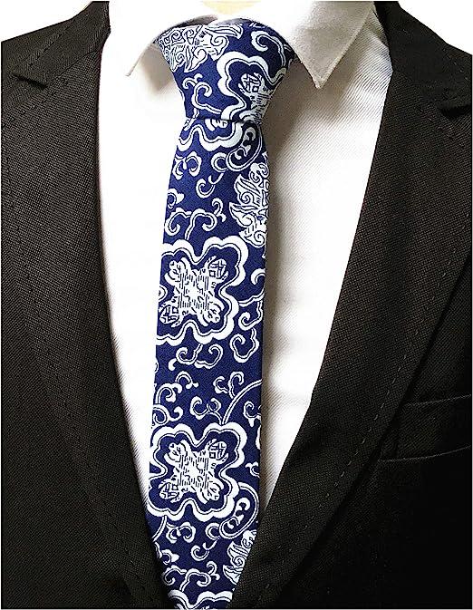 100/% Cotton Men Retro Slim Necktie Floral Print Tie For Business Wedding Party