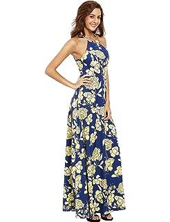a3df605fc1 Floerns Women s Sleeveless Halter Neck Vintage Floral Print Maxi Dress