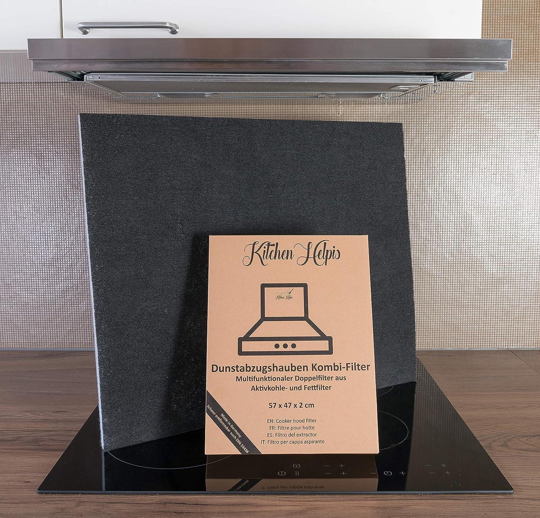 Kitchen Helpis® Filtros de Campana Extractoras combinados – Filtros Dobles de Carbón activo y Grasa 57x47 cm, Filtro se puede cortar a medida, Universales para todas las Campanas Extractoras estándar: Amazon.es: Grandes