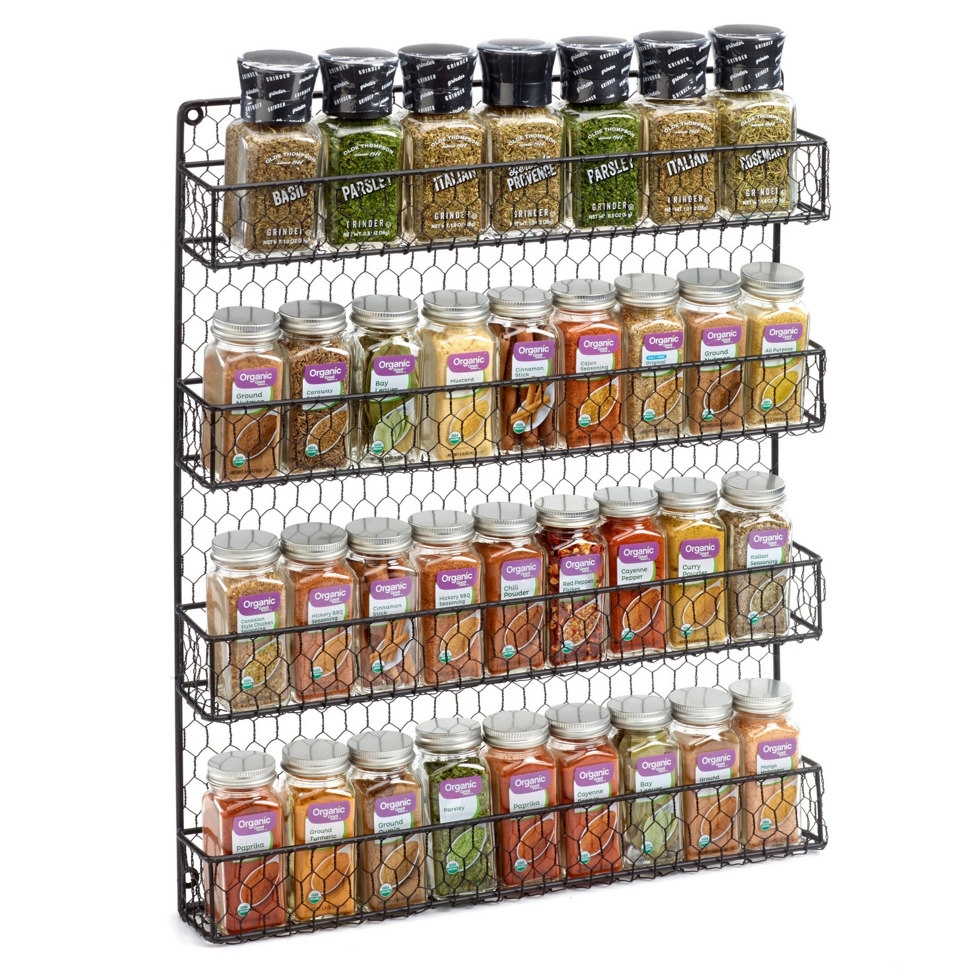 4 Tier Country Metal Chicken Wire Spice Rack from 1790, Cabinet, Wall, or Pantry Mount - This Rustic Hanging Organizer is Tiered for Maximum Storage -Up To 36 Herbs & Spices - Easily Mounted, Black