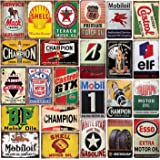 26 Pieces Gas and Oil Tin Signs, Retro Vintage Metal Sign for Home Man Cave Garage, 8x12 Inch/20x30cm