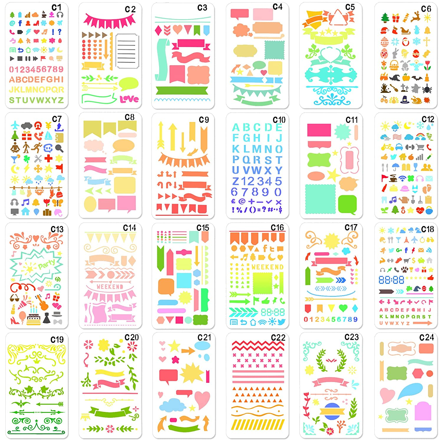 24 Pieces,Over 1200 New Different Patterns of Journal Stencil Painting Stencil Letter Stencil Planner Stencil for DIY Craft,Scrapbooking and DIY Craft ONEONEY
