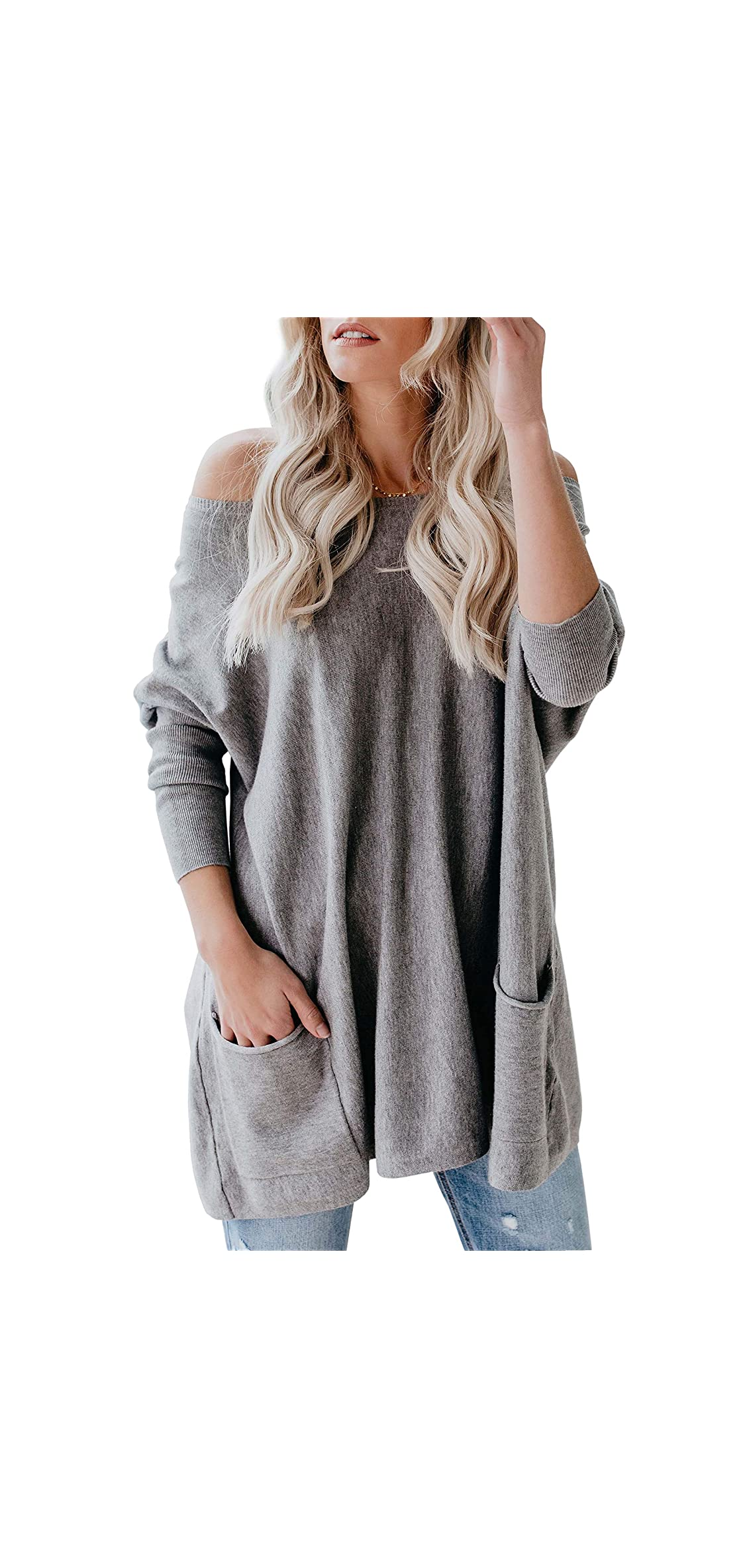 Womens Plus Size Off The Shoulder Long Sweaters Batwing