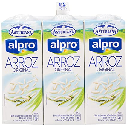 Alpro Central Lechera Asturiana Bebida de Arroz - Paquete de 6 x 1000 ml - Total