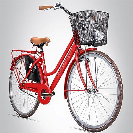 Bergsteiger Amsterdam – Bicicleta para mujer, 26 pulgadas, a partir de 140 cm de estatura, incluye cesta, y luz, freno contrapedal, diseño holandés retro, cereza: Amazon.es: Deportes y aire libre