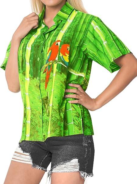 LA LEELA Blusa de la Playa de Las Mujeres del algodón más botón de Camisa Hawaiana l Verde: Amazon.es: Ropa y accesorios