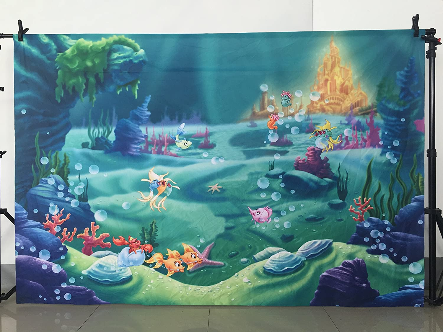 Amazon Com Mehofoto Under Sea Mermaid Backdrop Castle Blue Sea Grs P Ography Background 7x5ft Vinyl Child Kids Baby Birthday Party Decoration