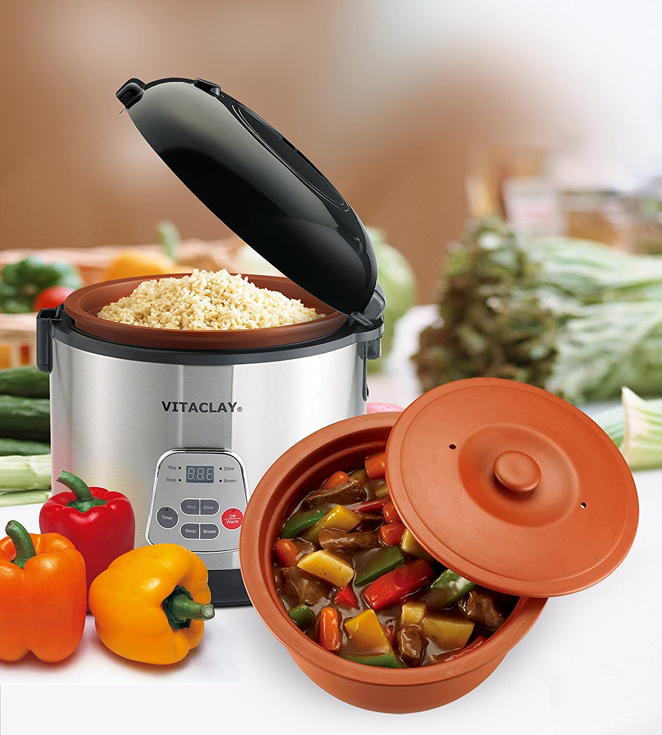 VitaClay 2-in-1 Rice N Slow Cooker in Clay Pot