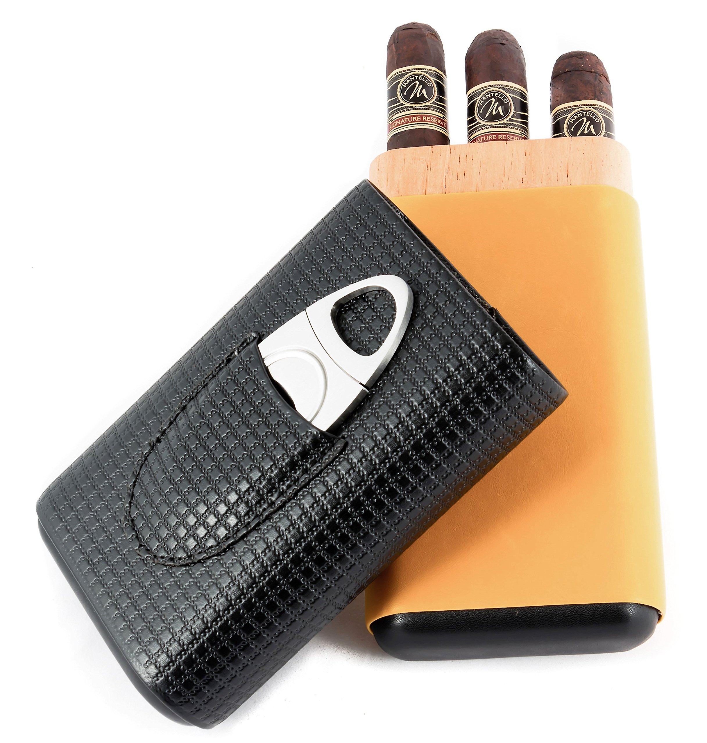Mantello Executive Genuine Leather and Cedar Wood Cigar Case with Cutter