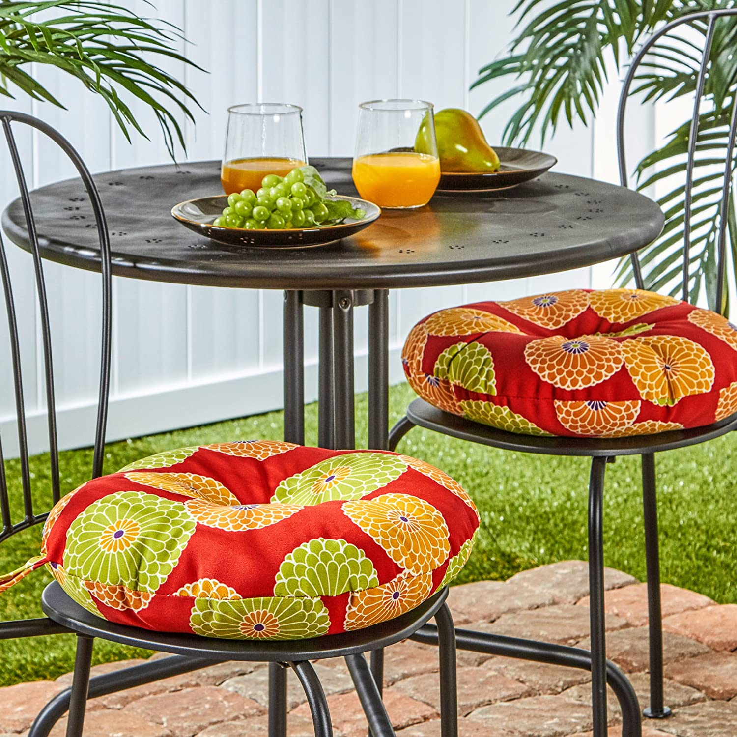 Carnival Stripe Greendale Home Fashions 15-Inch Round Indoor//Outdoor Bistro Chair Cushion Set of 2