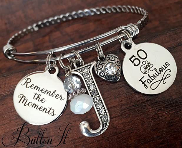 50th BIRTHDAY Gift 40th Birthday 50 And Fabulous Best FRIEND Milestone Inspirational BANGLE Bracelet Sister