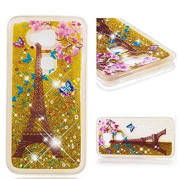 MSOSA Funda Huawei G8/G7 Plus Silicona Purpurina Carcasa TPU Cristal Bumper Fundas Case Cover para Huawei G8/G7 Plus_Torre