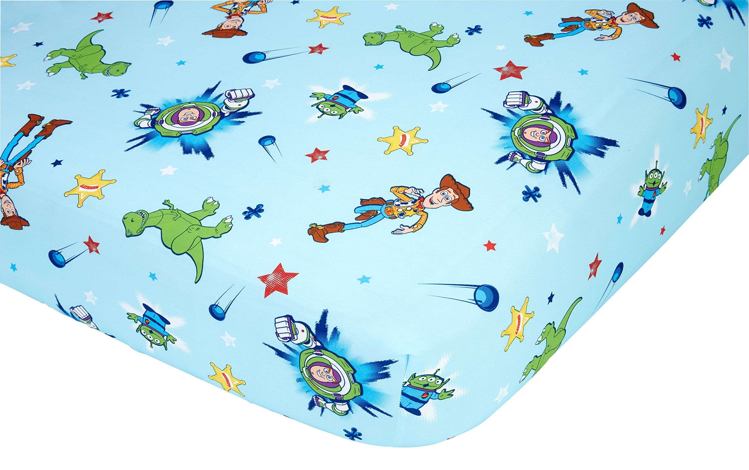 Disney Toy Story Power up 2 Pack Fitted Sheet and Pillowcase Toddler Sheet Set, Blue/Green by Disney (Image #3)