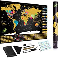 Scratch Off World Map Poster Deluxe Includes Complete Accessories Set All Country Flags Premium Wall Art for Travelers…