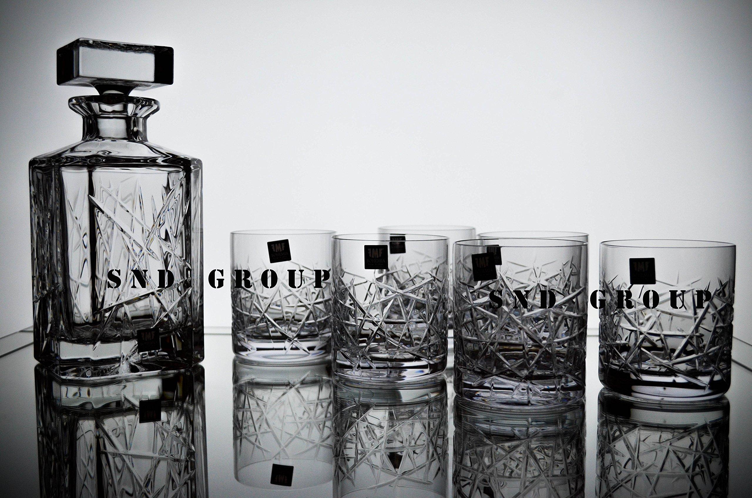 BOHEMIA CRYSTAL GLASS WHISKEY SET 1+6 ''Graffiti'' DECANTER 26oz + 6 OLD FASHIONED ROCKS GLASSES 10oz BOURBON SCOTCH COGNAC BRANDY CLASSIC VINTAGE DESIGN CZECH CRYSTAL GLASS