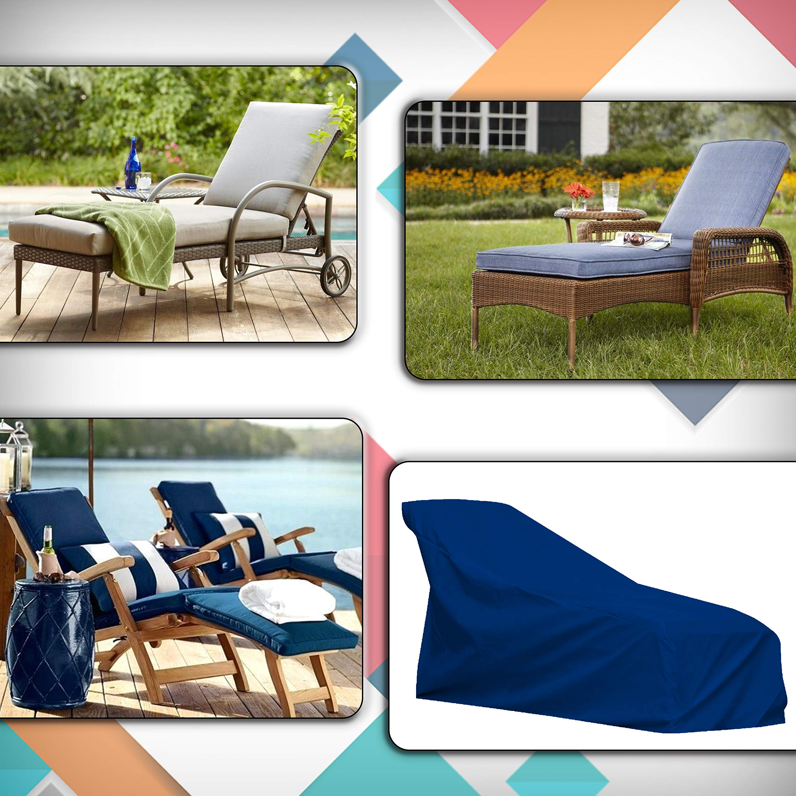 COVERS & ALL Chaise Lounge Cover 18 Oz Waterproof - 100% UV & Weather Resistant Outdoor Chaise Cover PVC Coated with Air Pockets and Drawstring for Snug Fit (80W x 34D x 32H, Blue) by COVERS & ALL (Image #5)