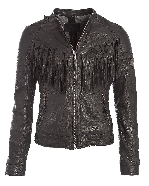 MUSTANG Damen Lederjacke Passy S schwarz: : Bekleidung