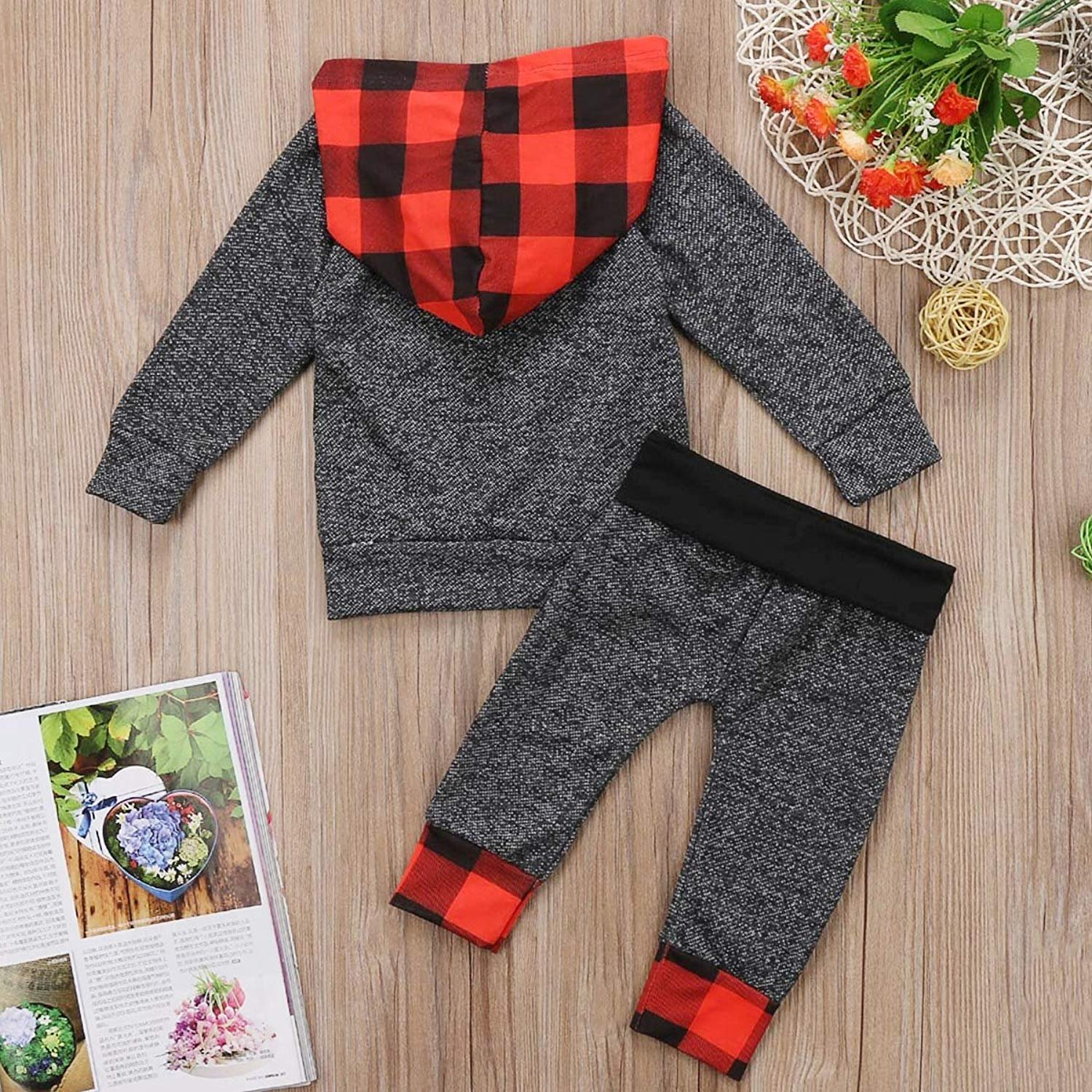 MILWAY Toddler Girls Boys Plaid Hoodies Tops with Pocket 70//0-6M, Multicoloured Pants 2Pc Outfit Set