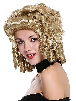 WIG ME UP ® - 91022-ZA33 Peluca Mujer Carnaval Barroco Renacimiento Rubio rizos Reina