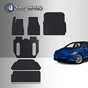 TOUGHPRO Floor Mat Accessories Compatible with Tesla Model X (6 Seater - 2nd Row Seat Without Middle Console) - All Weather - Heavy Duty - Black Rubber - 2017, 2018, 2019, 2020 (Complete Set)