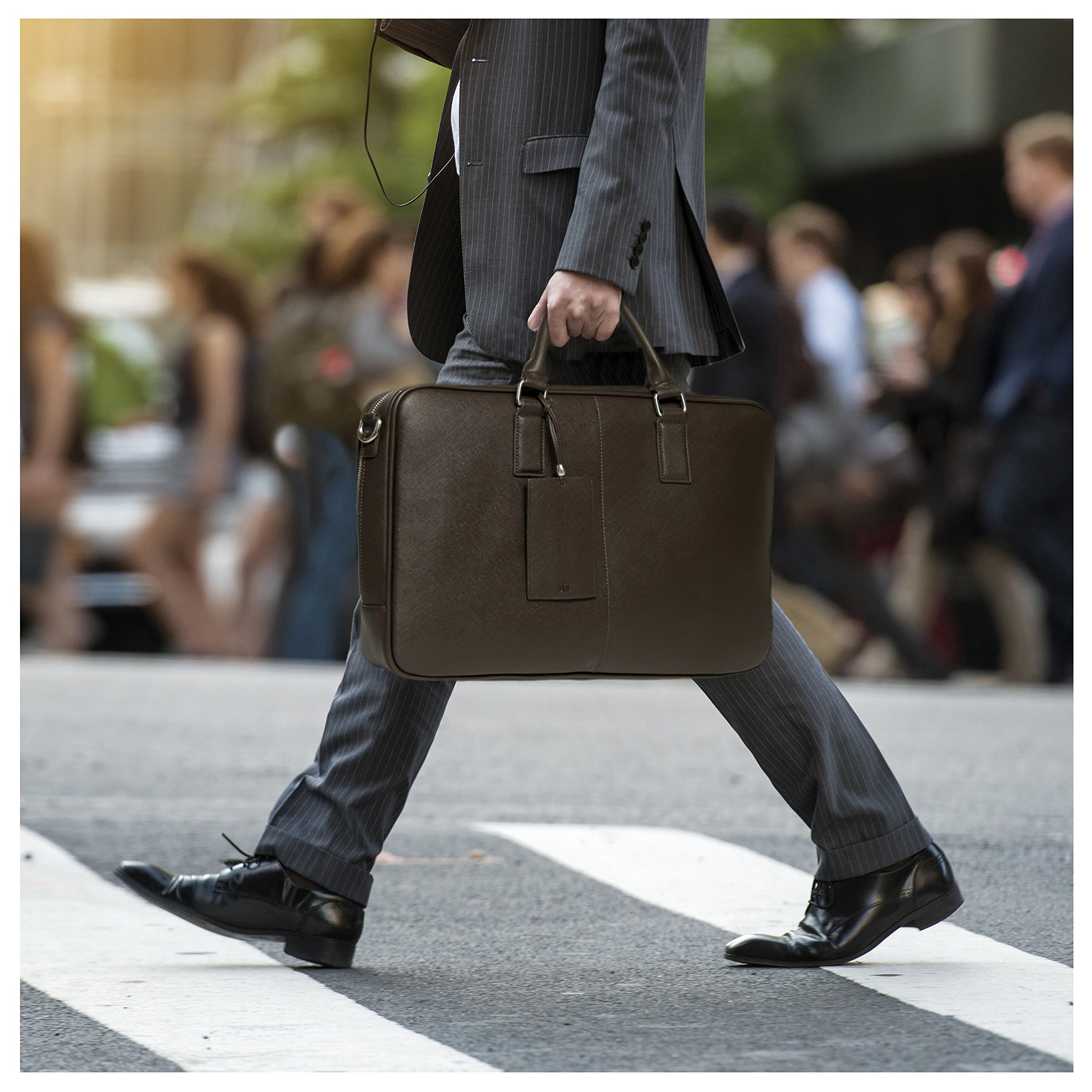 BfB Laptop Messenger Bag For Men - Designer Business Computer Bag Or Attorney Briefcase - Ideal Commuter Bag For Work And Travel - CHOCOLATE BROWN by My Best Friend is a Bag (Image #6)