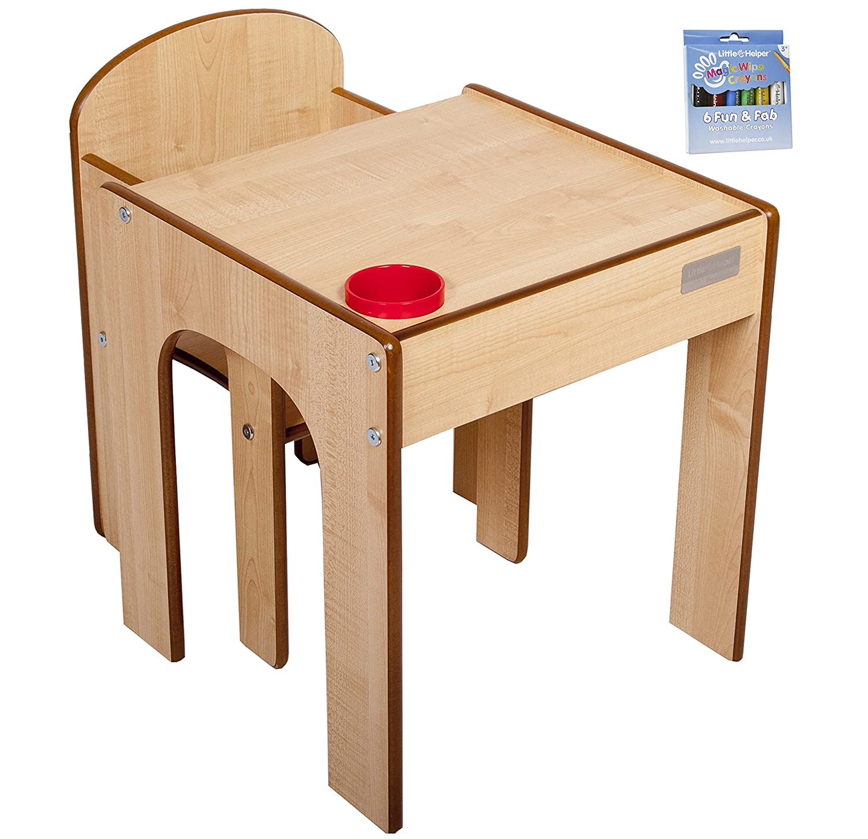 Little Helper ArtStation-Set 4 in 1 di legno con scrivania per bambini, ardesia, con cavalletto, reversibile Natural/Rojo