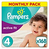 Pampers Premium Protection Active Fit Nappies, Monthly Saving Pack - Size 4, 168 Nappies