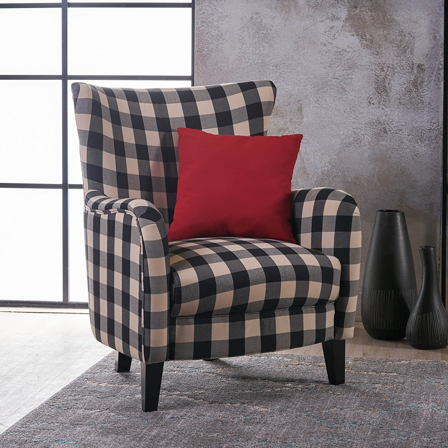 buffalo plaid upholstered chair