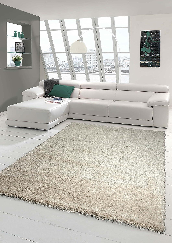 Traum Shaggy Teppich Hochflor Langflor Teppich Wohnzimmer Teppich Gemustert in Uni Design Cream Creme Größe 140x200 cm