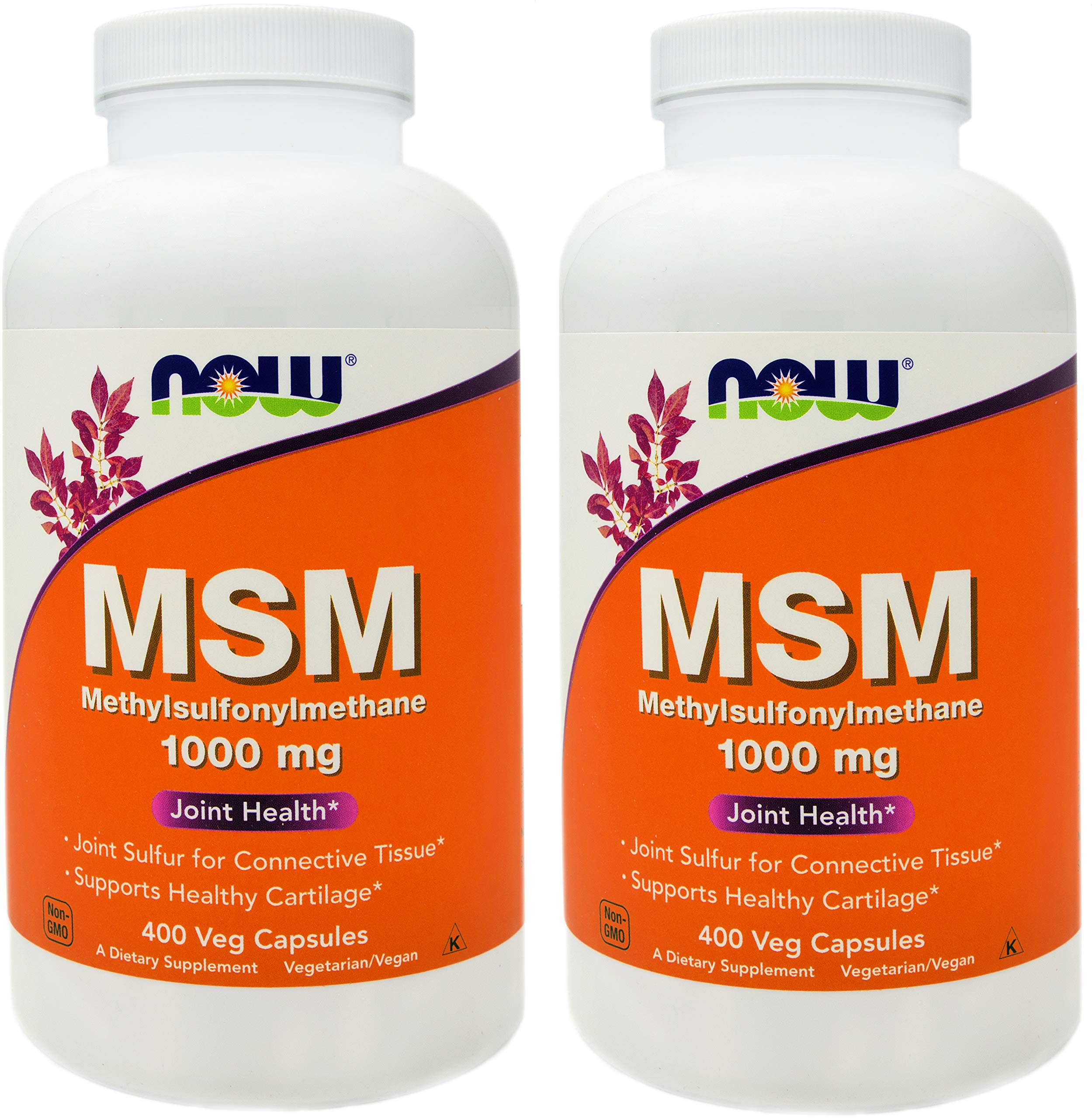 Now MSM 1000 mg, 400 Veg Capsules (Pack of 2), Methylsulphonylmethane