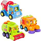 Best Choice Products Set of 3 Friction Powered Car Toys, Harvester Truck, Street Sweeper, Cement Mixer
