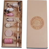 Katzenspielzeug Set – Interaktiv – Federn – Katzenangel – Stoffmäuse – Geschenkbox – The Natural Pet Company Qualitätsprodukt